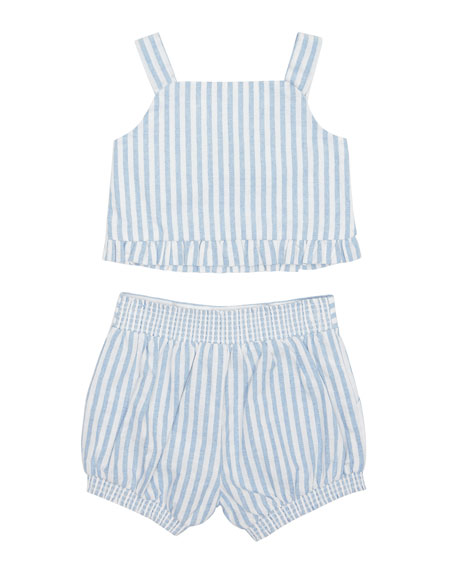 Luciana Stripe Sleeveless Top w/ Matching Shorts, Size 12-24 Months