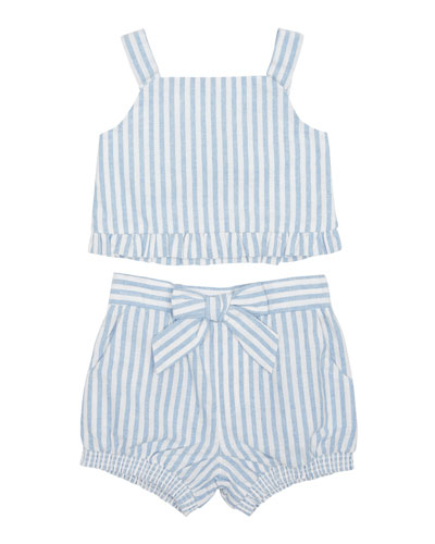 Luciana Stripe Sleeveless Top w/ Matching Shorts  Size 12-24 Months
