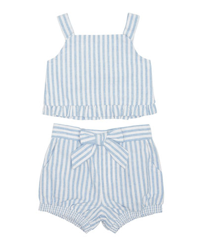 Luciana Stripe Sleeveless Top w/ Matching Shorts  Size 2-4T
