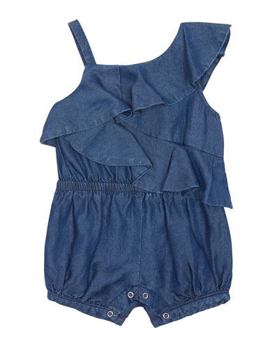 Antonella Chambray One-Shoulder Romper  Size 12-24 Months
