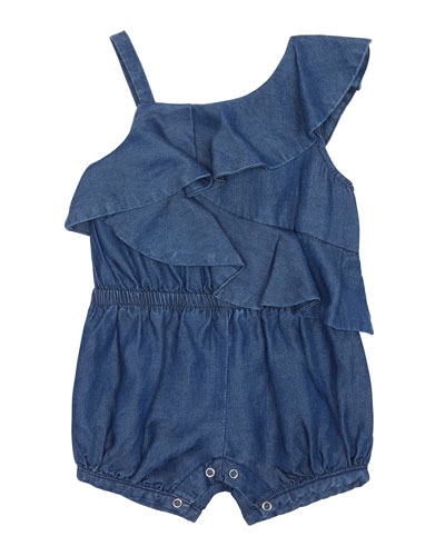 Antonella Chambray One-Shoulder Romper  Size 2-4T
