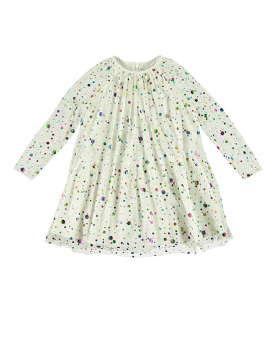 Foil Dots Tulle Long-Sleeve Dress  Size 5-14