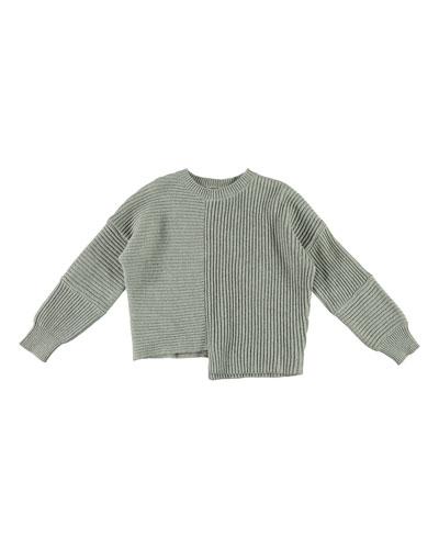 Asymmetrical Knit Notch Hem Sweater  Size 4-14