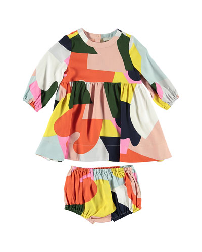 Twill Colorblock Long-Sleeve Dress w/ Bloomers  Size 6-36 Months