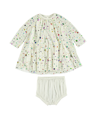 Foil Dot Long-Sleeve Dress w/ Bloomers  Size 6-36 Months