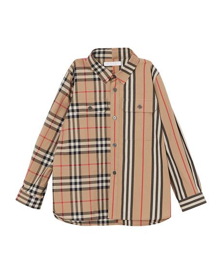 b8189d29ff Burberry Amir Icon Stripe & Check Button-Down Shirt, Size 3-14