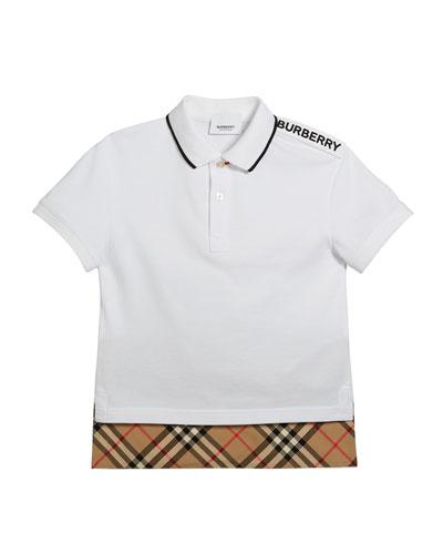 Hammond Short-Sleeve Check-Trim Polo Shirt  Size 3-14