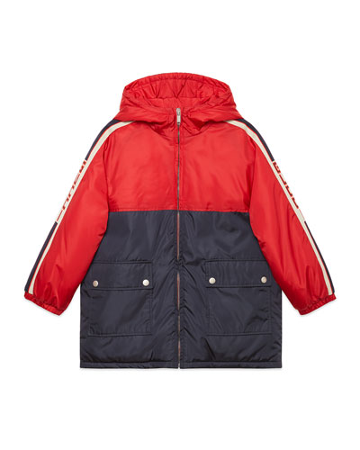 Colorblock Hooded Jacket w/ Logo Taping  Size 4-12