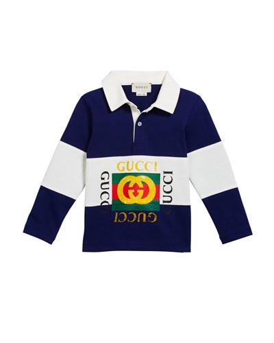 Boy's Logo Rugby Stripe Polo Shirt  Size 12-36 Months