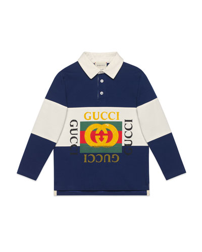 Logo Rugby Stripe Polo Shirt  Size 4-10