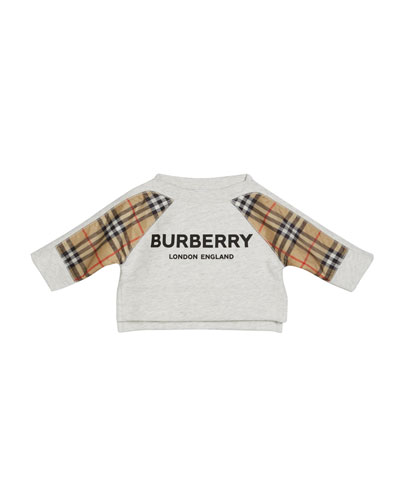 Mini Esther Check-Trim Sweatshirt  Size 6M-2