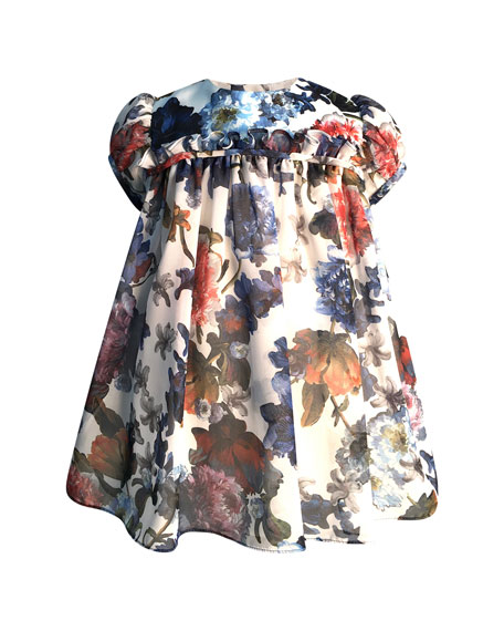 Girl's Puffy Sleeve Floral Dress, Size 2-3