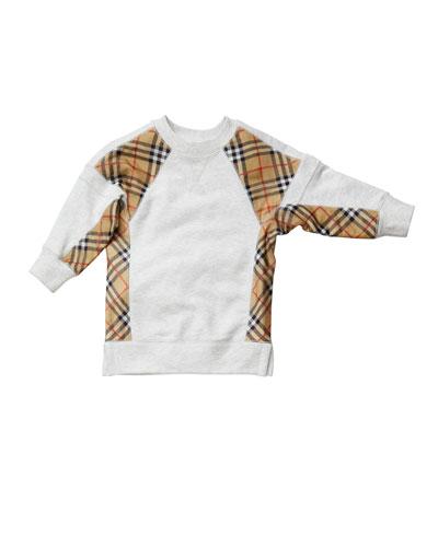 Wanda Check-Trim Sweatshirt Dress  Size 3-14
