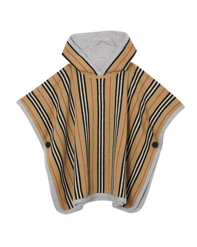 Kid's Reversible Icon Stripe Hooded Poncho  Size M-L