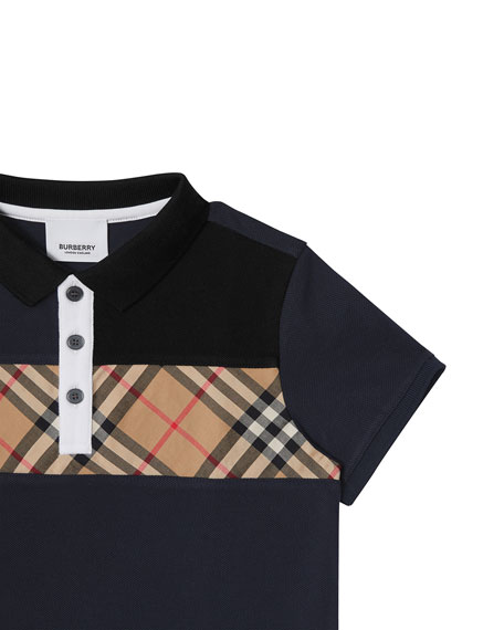 3cabc638 Burberry Jeff Contrasting Polo w/ Check Chest, Size 3-14
