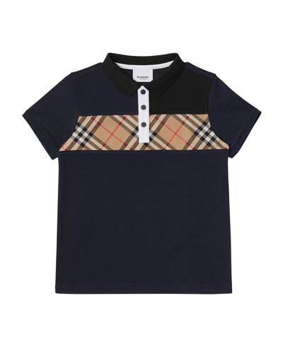 25bfb08b5 Jeff Contrasting Polo w  Check Chest Size 3-14 Quick Look. Burberry