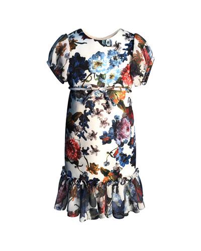 9e9a401b20b1 Floral-Print Short-Sleeve Ruffle-Hem Chiffon Combo Dress Size 4-6 Quick  Look. Helena