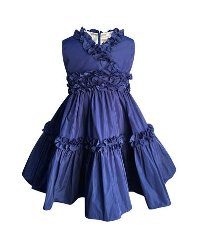 Ruffle-Trim Taffeta Dress  Size 7-14