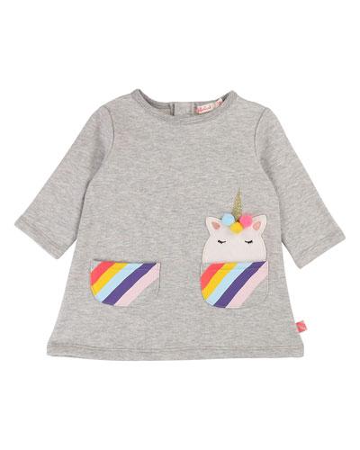 Long-Sleeve Dress w/ Striped Unicorn Pockets  Size 12M-3