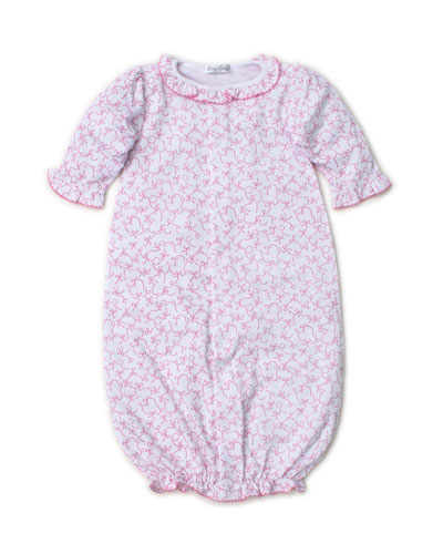 Twirly Toes Printed Ruffle-Trim Convertible Sleep Gown  Size Newborn-Small