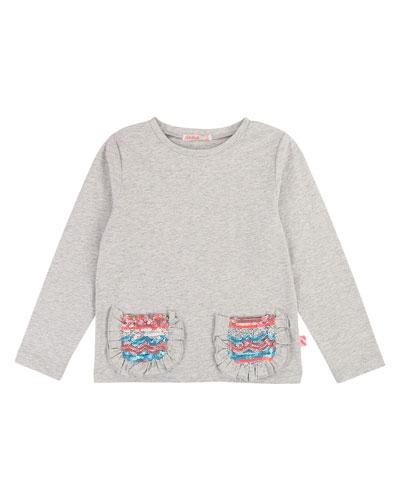 Long-Sleeve Tee w/ Ruffle & Sequin Pockets  Size 4-12