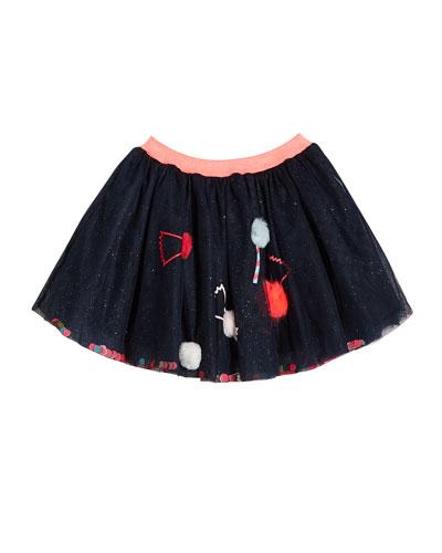 Girl's Glitter Tulle Skirt w/ Candy Pompom Detail  Size 4-12