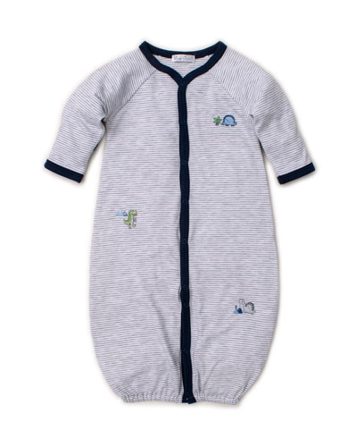 Dino Crew Striped Embroidered Convertible Sleep Gown  Size Newborn-Small