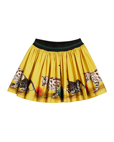 Brenda Kittens Playing Print Skirt  Size 2T-12