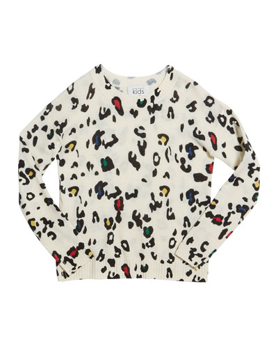 Color Leopard-Print Crewneck Sweater  Size 8-16