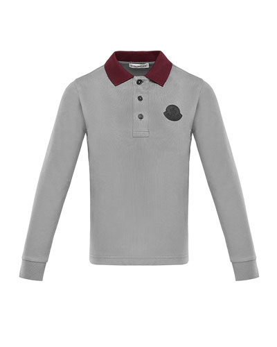 f7c2cc213 Long-Sleeve Polo Shirt w  Side Taping Size 8-14 Quick Look. Moncler