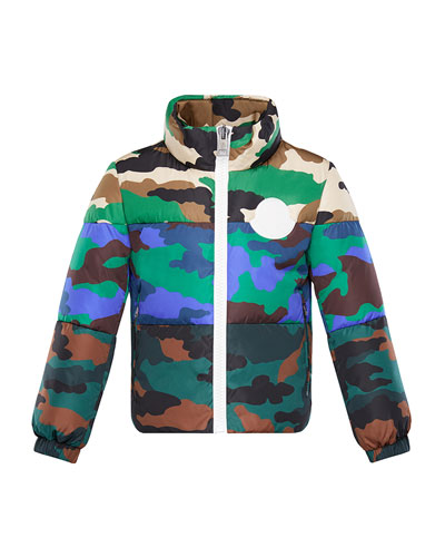 Mixed Camo-Print Puffer Jacket  Size 4-6