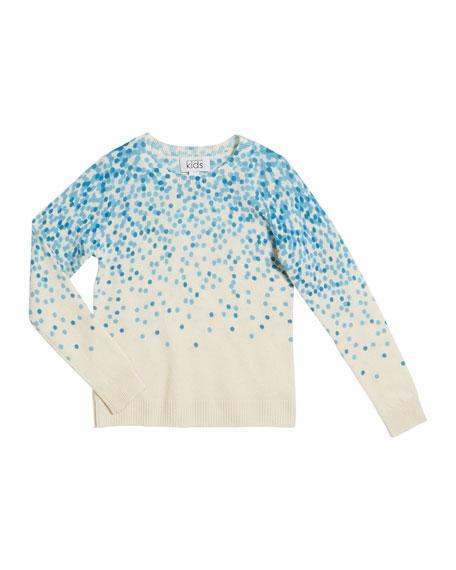 Confetti-Print Crewneck Sweater, Size 8-16