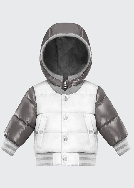 Pinet Two-Tone Quilted Zip-Up Hooded Varsity Puffer Jacket, Size 12M-3