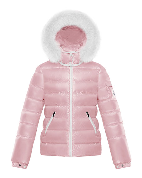 Girl's Bady Quilted Jacket w/ Fur Trimmed Hood, Size 8-14