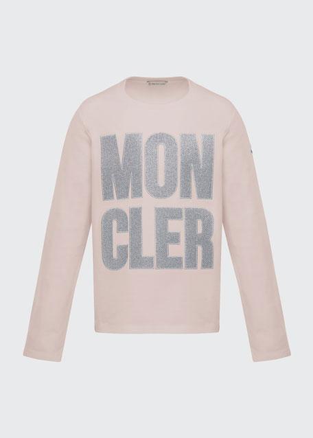 Glitter Logo Long-Sleeve T-Shirt, Size 8-14