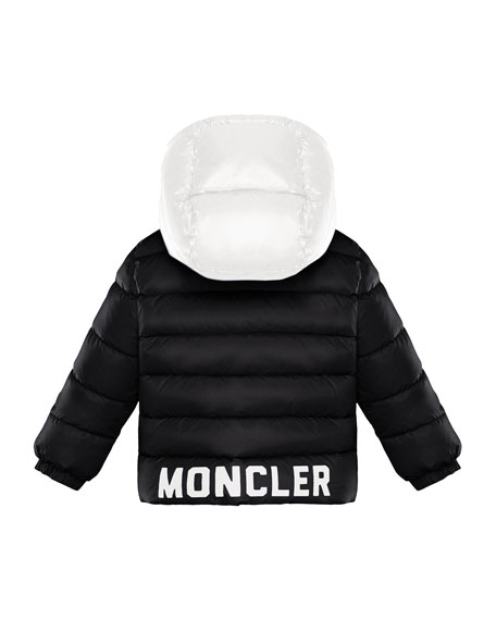 Lourmarin Quilted Two-Tone Puffer Jacket w/ Block Logo Hem, Size 12M-3