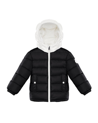359932b19 Quilted Two-Tone Puffer Jacket w/ Block Logo Hem Size 12M-3 Quick Look.  Moncler