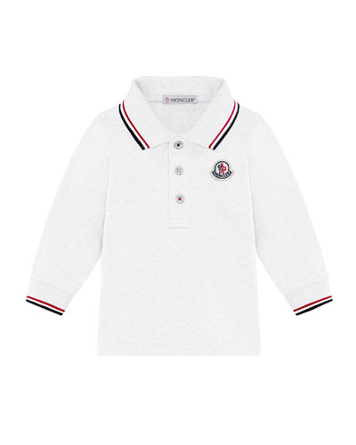 Long-Sleeve Polo Shirt w/ Tricolor Tipping  Size 12M-3