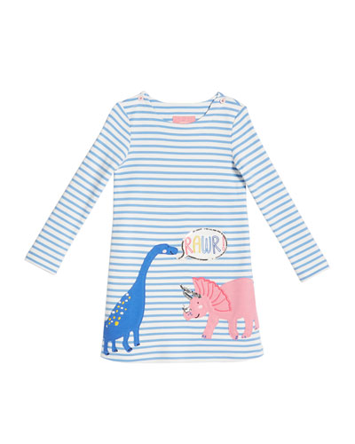 Striped Dinosaur Applique Long-Sleeve Dress  Size 2-6