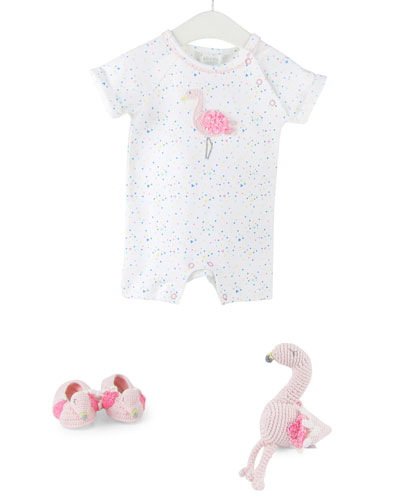 Flamingo Romper  Bootie & Rattle Set  Size 0-12 Months