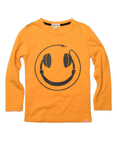 Headphones Smiley Face Graphic Tee  Size 2-10