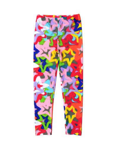Girl's Spray Pain Stars Print Leggings  Size 2-14