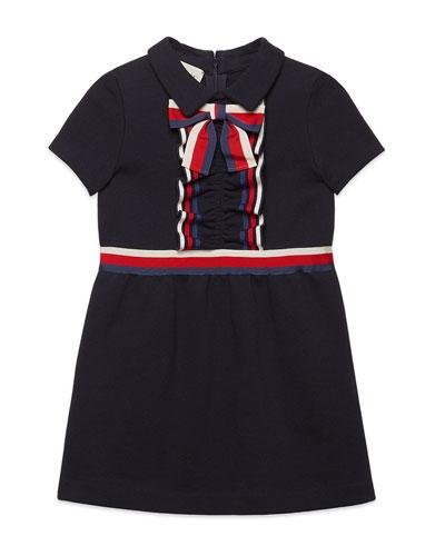 e1789357a Girls' Short-Sleeve Collared Dress w/ Ribbon Detail Size 4-12