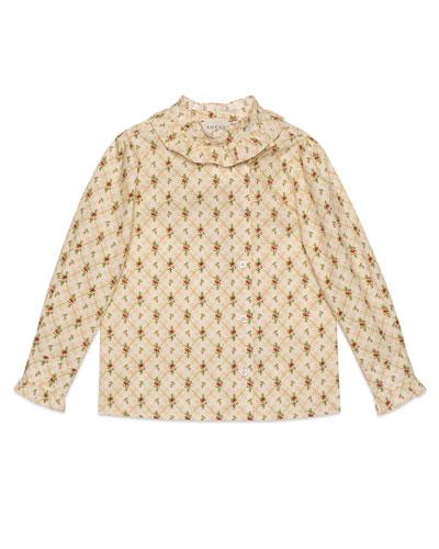 Girls' Ruffle Collar Blouse  Size 4-12