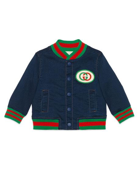 978fd003a Gucci Web Trim Denim Bomber Jacket, Size 9-36 Months