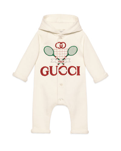 Racket Logo Embroidered Hooded Coverall  Size 3-24 Months