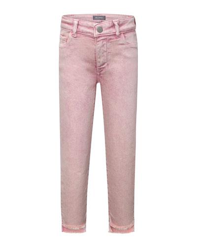 Girls' Chloe Skinny Raw-Hem Acid Wash Jeans  Size 2-6