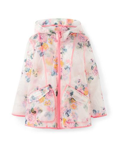 Rain Dance Transparent Floral-Print Raincoat  Size 3-12