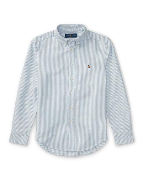 Cotton Oxford Stripe Sport Shirt, Size S-XL