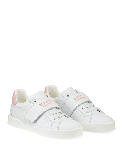 Grip-Strap Two-Tone Leather Logo Sneakers  Toddler/Kids